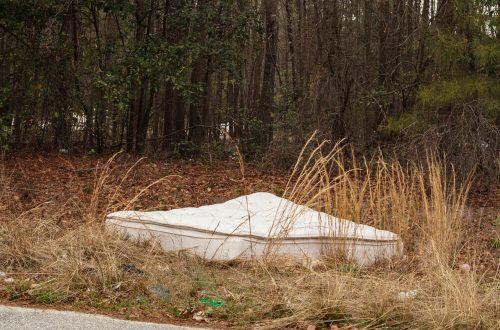 Um colchão descartado de forma incorreta no meio de um mato.