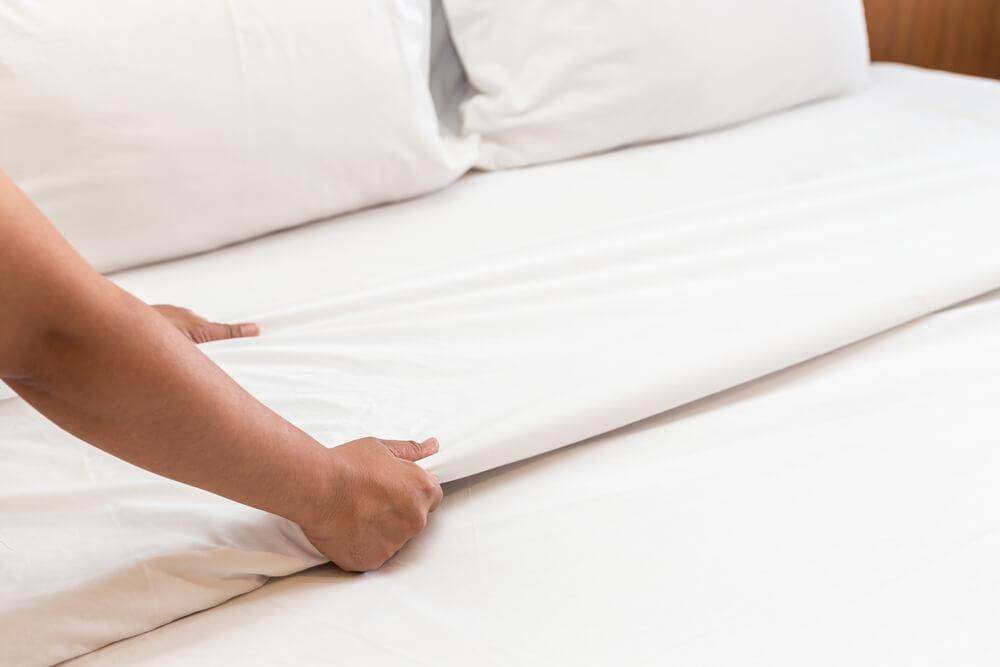 Imagem de um lençol de fibra natural de algodão.